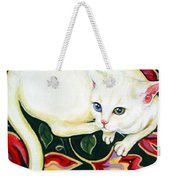 White Cat On A Cushion Weekender Tote Bag