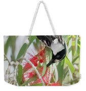 White-cheeked Honeyeater Feeding Weekender Tote Bag
