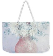 White Chrysanthemums Weekender Tote Bag by Jan Matson