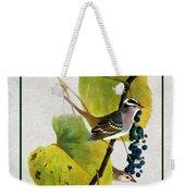 White Crowned Finch Vertical Weekender Tote Bag