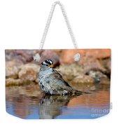 White-crowned Sparrow Bathing Weekender Tote Bag