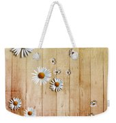 White Daisies Weekender Tote Bag by David Ridley