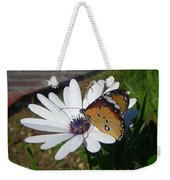 White Daisy And Butterfly Weekender Tote Bag