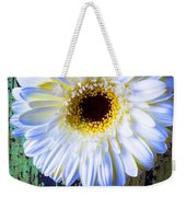 White Daisy With Green Wall Weekender Tote Bag