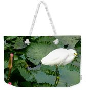 White Egret On Lilypads Weekender Tote Bag