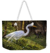 White Egret On The Hunt Weekender Tote Bag