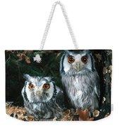 White Faced Scops Owl Weekender Tote Bag by Hans Reinhard