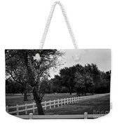 White Fence On The Wooded Green Weekender Tote Bag