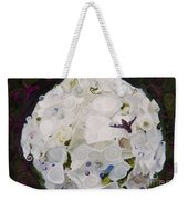 White Flower And Friendly Bee Mixed Media Painting Weekender Tote Bag