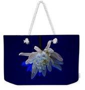 White Flower On Dark Blue Background Weekender Tote Bag