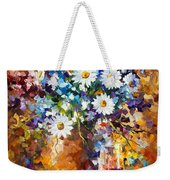 White Flowers - Palette Knife Oil Painting On Canvas By Leonid Afremov Weekender Tote Bag