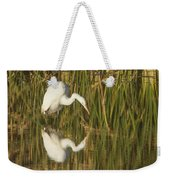 White Heron Staring At The Water Weekender Tote Bag