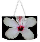 White Hibiscus Isolated On Black Background Weekender Tote Bag