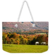 White Horses Grazing With View Of Green Mtns Weekender Tote Bag