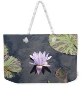 White Light Blue Tiped Waterlily Weekender Tote Bag