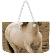 White Mare Approaches Number One Close Up Sepia Weekender Tote Bag