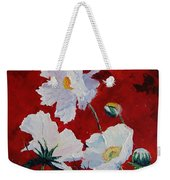 White On Red Poppies Weekender Tote Bag