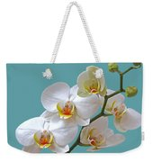 White Orchids On Ocean Blue Weekender Tote Bag