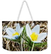 White Pasque Flower Weekender Tote Bag