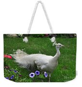 White Peacock In Our Garden Weekender Tote Bag
