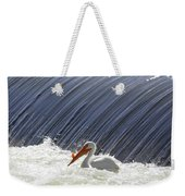 White Pelican Over The Dam Weekender Tote Bag