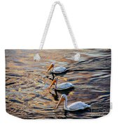 White Pelicans  In Golden Water Weekender Tote Bag