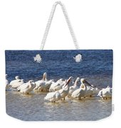 White Pelicans On Sanibel Island Weekender Tote Bag