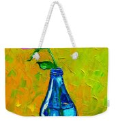 White Peony Into A Blue Bottle Weekender Tote Bag
