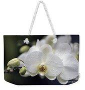 White Phalaenopsis With Water Drops 5797 Weekender Tote Bag
