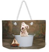 White Pitbull Puppy Portrait Weekender Tote Bag by James BO  Insogna
