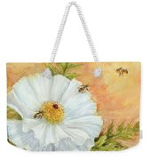 White Poppy And Bees Weekender Tote Bag