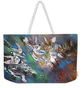 White Rabbits On The Run Weekender Tote Bag