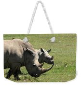 White Rhino Mother And Calf Weekender Tote Bag