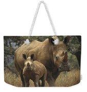 White Rhinoceros And Baby Lewa Kenya Weekender Tote Bag