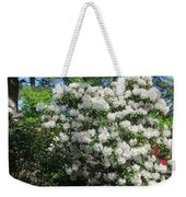 White Rhododendron Blooming In The Garden Weekender Tote Bag