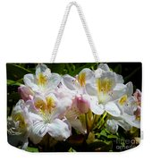 White Rhododendron In Sunlight Weekender Tote Bag