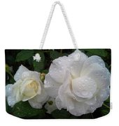 White Rose And Raindrops Weekender Tote Bag