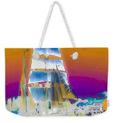 White Sails Ship And Colorful Background Weekender Tote Bag