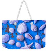 White Sea Shells On Blue Board Weekender Tote Bag