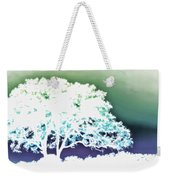 White Silhouette Of Oak Tree Against Blue And Green Watercolor Background Weekender Tote Bag