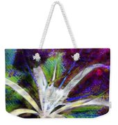 White Spider Flower On Orange And Plum - Vertical Weekender Tote Bag