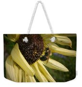 White Sunflower And Bee Weekender Tote Bag