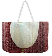 White Tulip On Red Weekender Tote Bag