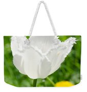 White Tulip On The Green Background Weekender Tote Bag