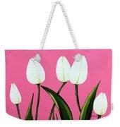 White Tulips On Pink Weekender Tote Bag