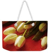 White Tulips Over Red Weekender Tote Bag
