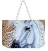 White Unicorn On Wood Weekender Tote Bag