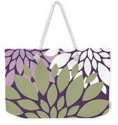 White Violet Green Peony Flowers Weekender Tote Bag