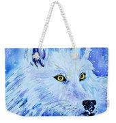 White Wolf - Aurora Nights In Blues - Square Weekender Tote Bag