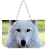 White Wolf Close Up Weekender Tote Bag